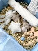 Подарочный бокс для малыша (мамины заметки, прорезыватель, подвеска на коляску со звуком)