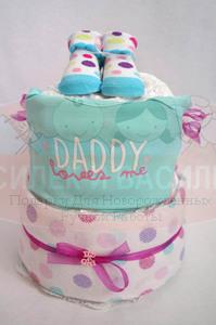 "Торт из памперсов для девочки ""Daddy loves me"""
