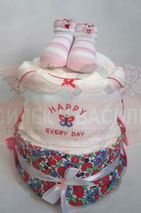"Торт из памперсов для девочки ""Happy every day"""