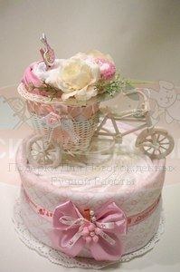 """Торт из памперсов """"Велосипед для малышки"""""""
